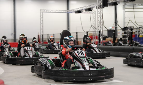 The start of a fast-paced children's party at gokartcentralen in Kungälv